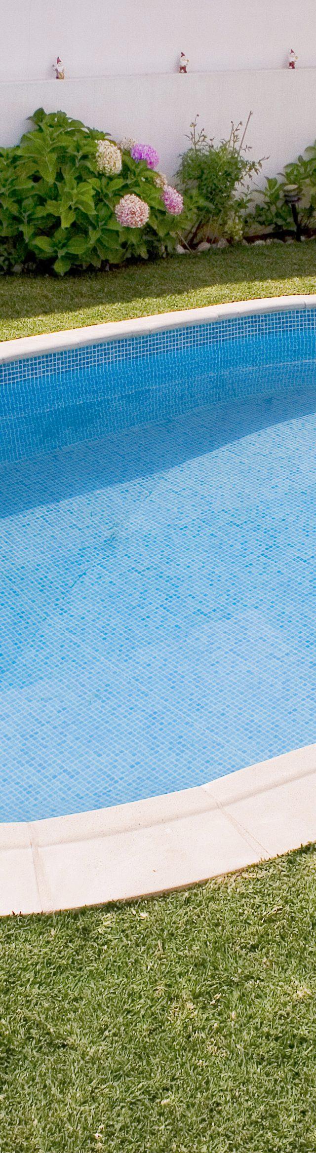 piscina oval no quintal